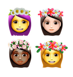 Characters girls avatars with flower on head in vector