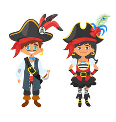 Characters in pirate costumes vector
