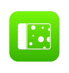 Cheese icon digital green vector