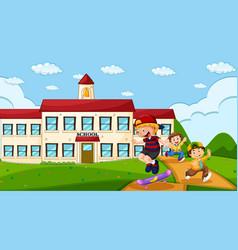 Children at school ground vector