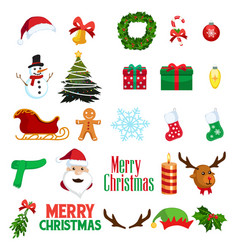 christmas winter clipart icons vector image