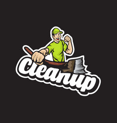 Cleaning service guy spirit hold a broom vector