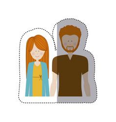 color sticker half body with man with beard and vector image