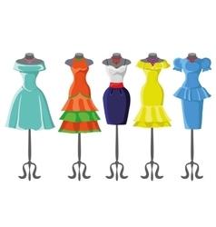 Colored summer dresses on mannequinFashion set vector image