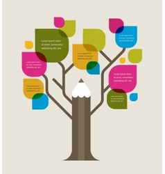 Colorful education tree with pencil and text space vector