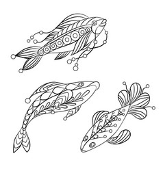 Coloring pages for children and adults with set vector