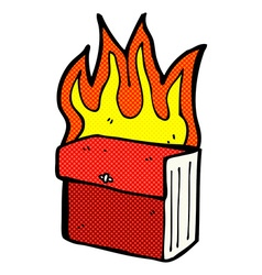 Comic cartoon burning business files vector