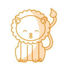 Cute shadow lion cartoon vector