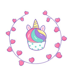 cute unicorn cupcake on a white background vector image