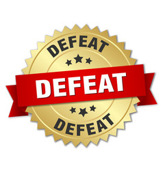 Defeat round isolated gold badge vector