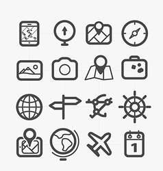 Different travel icons set with rounded corners vector