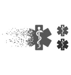 Disappearing pixel halftone life star medical vector