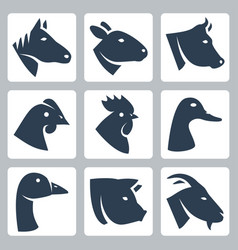 Domesticated animals icons set horse sheep cow vector