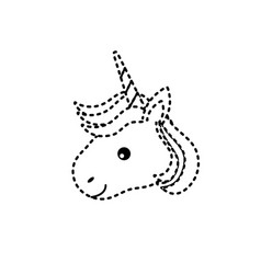 Dotted shape cute unicorn head with horn and vector