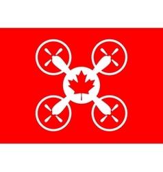 Drone quadrocopter icon Maple leaf symbol vector