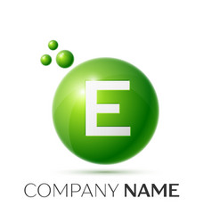 E letter splash logo green dots and circle bubble vector