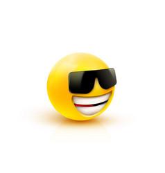 Face with sunglasses emoji - emoticon with dark vector