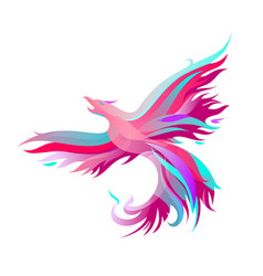 Fiery phoenix in bright colors vector