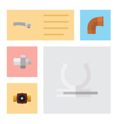 Flat icon industry set of iron connector conduit vector