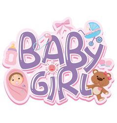 Font design for words baby girl vector
