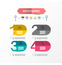 four steps infographic layout with paper labels vector image