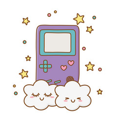 Game boy and clouds vector