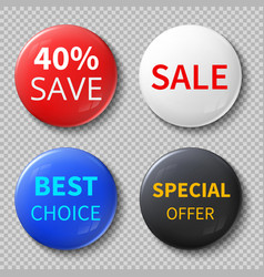 glossy 3d sale circle buttons or badges vector image