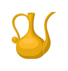 Golden jug with one handle and long snout shiny vector
