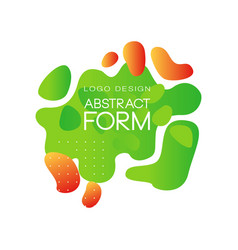 green abstract form logo design brand identity vector image