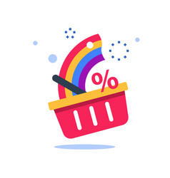 Grocery basket with rainbow best deal vector