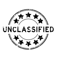 grunge black unclassified word with star icon vector image