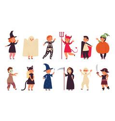 halloween costumes kid costume group children vector image
