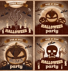 Halloween Posters set night holiday vector