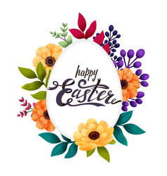 happy easter greeting card calligraphic lettering vector image