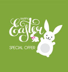 happy easter label funny bunnt and lettering vector image