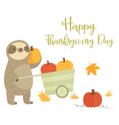 Happy thanksgiving day card with sloth pumpkins vector