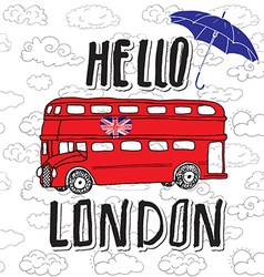 hello london hand lettering sign with umbrella red vector image