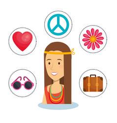 Hippie people design vector