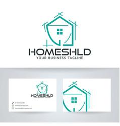 home shield logo design vector image