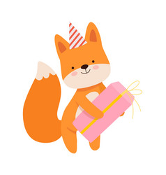 Humanized fox with a gift on vector