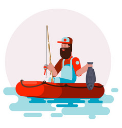 Man in boat with fish vector