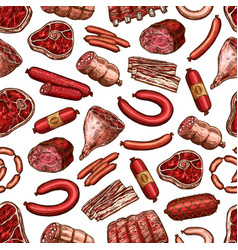 meat seamless pattern beaf steak pork sausage vector image