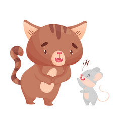 Mouse welcomes cat on vector