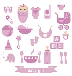 Newborn baby icons set vector
