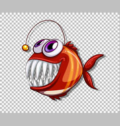 Orange angler fish cartoon character on vector