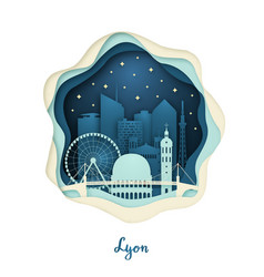 paper art of lyon origami concept night city vector image