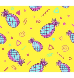 pink and blue pattern with pineapples on vector image