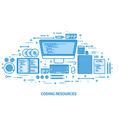 Programming coding and seo web development vector