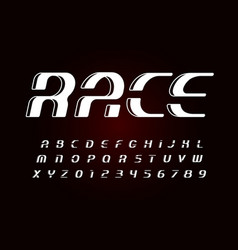 race letters and numbers collection italic bold vector image