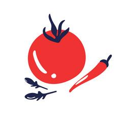 red ripe tomato chili pepper and arugula salad vector image